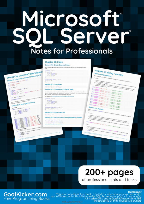 دانلود کتاب Microsoft SQL Server Notes for Professionals